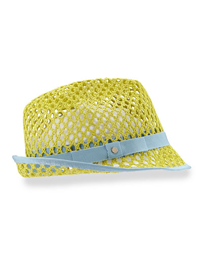 Johnny Grosgrain-Trim Hat, Green/Blue