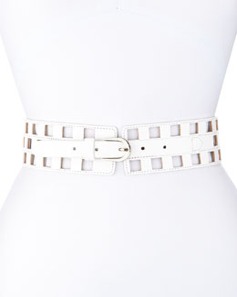 Check Cutout Leather Belt, White