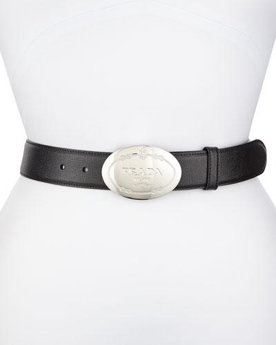 Saffiano Oval Logo Belt, Black