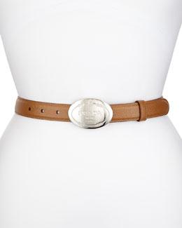 Thin Saffiano Logo Belt, Caramel