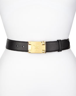 Saffiano Logo Buckle Belt, Black