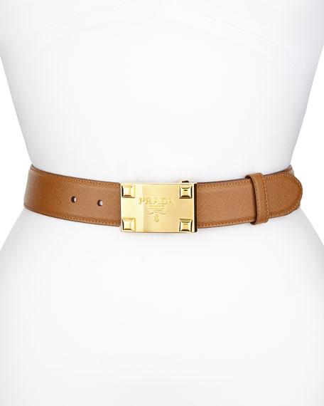 d56408e644b0 Prada Saffiano Logo Buckle Belt