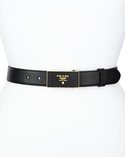 Saffiano Belt w/Rectangle Buckle, Black