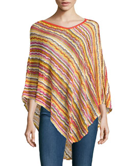 Striped Knit Asymmetric Poncho