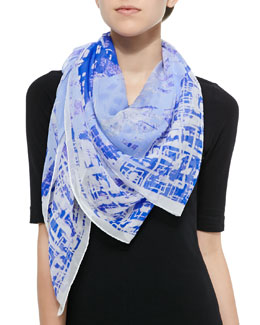 Galactic-Print Square Scarf
