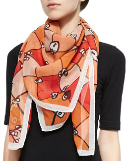 Paris Love Locks Scarf, Orange