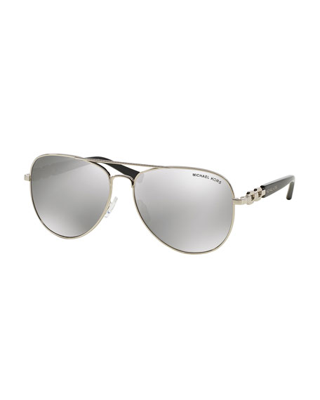 Michael Kors Chain Link Aviator Sunglasses, Silver Mirror