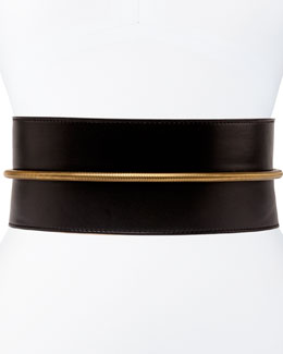 Tube-Detail Belt in Black Lambskin