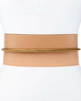 Tube-Detail Belt in Nude Lambskin