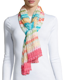Striped Knit Zigzag Scarf, Multi