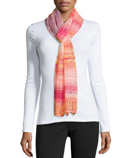 Zigzag Pointelle Knit Scarf, Pink Multi