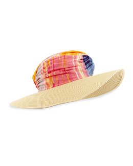 Striped Wide-Brim Hat, Red/Multi