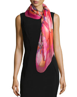 Grace-Print Silk Scarf, Fuchsia