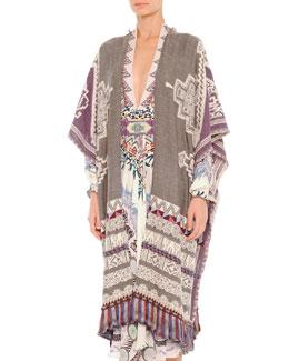 Tassel-Hem Tapestry Poncho Cape
