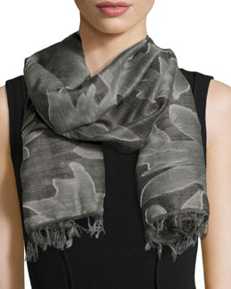 Gracie Textured Wool Scarf, Charcoal