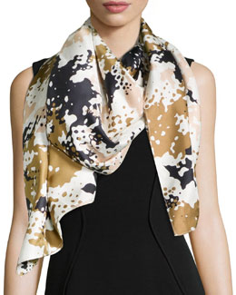Camo-Print Silk Scarf