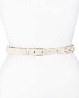Bradbury Woven Suede Hip Belt, White