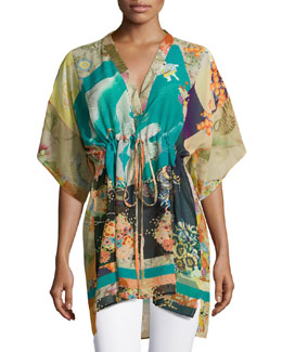 Dakota Drawstring Poncho, Flame/Blue