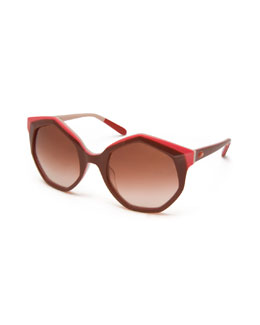 Seven-Sided Butterfly Sunglasses, Nude/Red