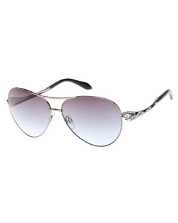 Muphrid Snake-Temple Aviator Sunglasses, Pewter
