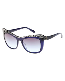 Muscida Snake-Brow Cat-Eye Sunglasses, Blue