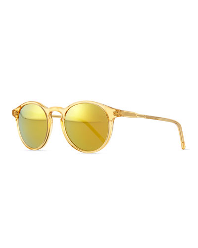 Miki Round Pantos Mirror Sunglasses, Yellow