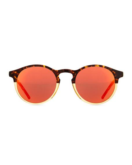 Miki Round Pantos Mirror Sunglasses, Tortoise/Orange