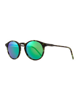 Miki Round Pantos Mirror Sunglasses, Black/Green