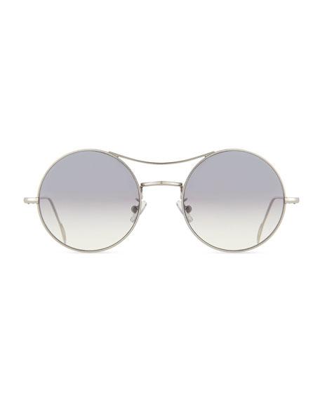 Ros Round Mirror Sunglasses, Silver