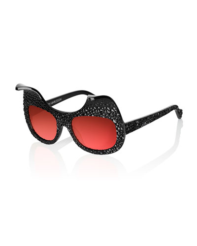 When Trouble Came to Town Sunglasses, Black/Rock Red