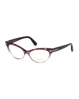 Cat-Eye Fashion Glasses, Purple/Gray