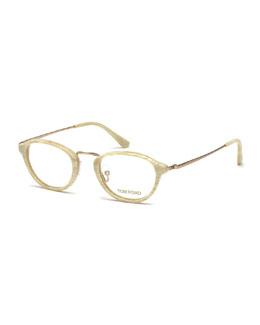 Round Vintage-Inspired Fashion Glasses, Golden/White