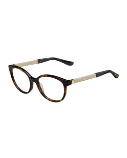 Shimmer-Temple Optical Frame, Dark Havana