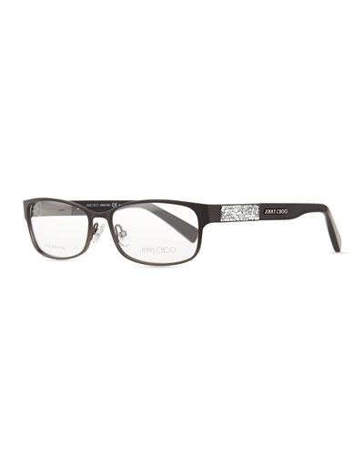 Crystal-Temple Fashion Glasses, Black