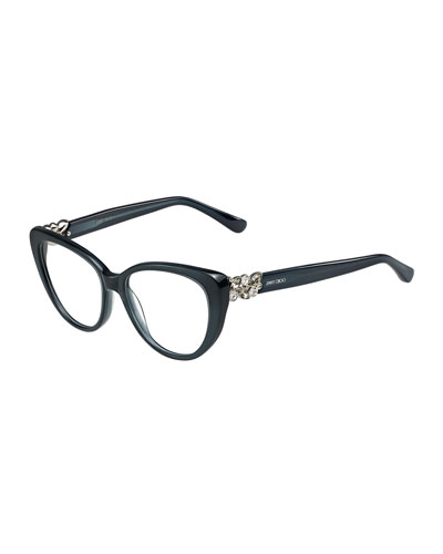 Cat-Eye Optical Frame w/Jewel Temple, Dark Gray