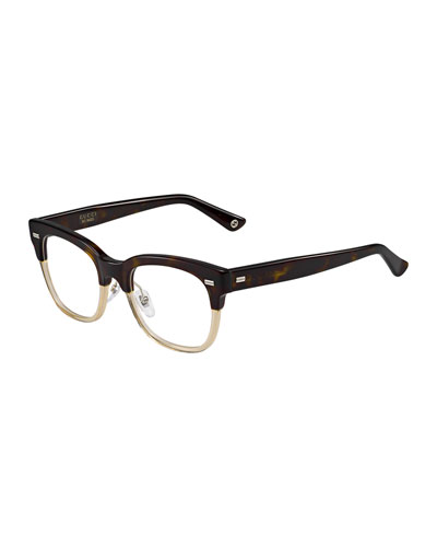 Two-Tone Fashion Glasses, Brown/Beige