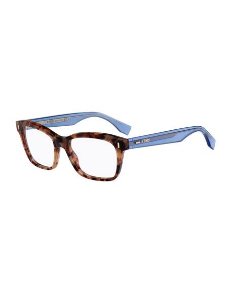 Square Fashion Glasses, Havana/Blue