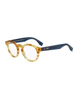 Round Fashion Glasses, Amber/Blue