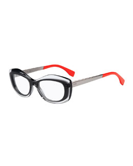 Colorblock Fashion Glasses, Clear/Gray