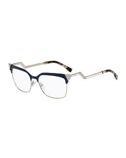 Zigzag-Temple Square Fashion Glasses, Blue