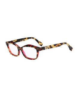 Havana Raised-Brow Fashion Glasses, Yellow/Brown