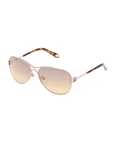 Shiny Metal Aviator Sunglasses, Rose Golden