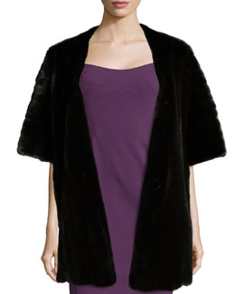 Long Mink Fur Stole, Black