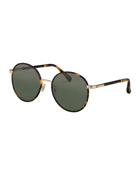 Leather-Wrapped Round Sunglasses, Havana
