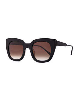 Swingy Square Sunglasses, Black