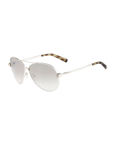 Metal Aviator Sunglasses with Rockstud Temples, Ivory