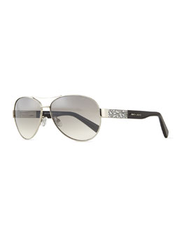 Babas Crystal-Temple Aviator Sunglasses, Silvertone