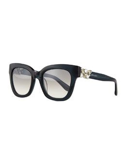 Maggie Jewel-Temple Sunglasses, Dark Gray