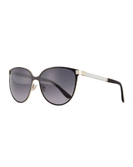 Posies Crystal-Temple Butterfly Sunglasses, Black