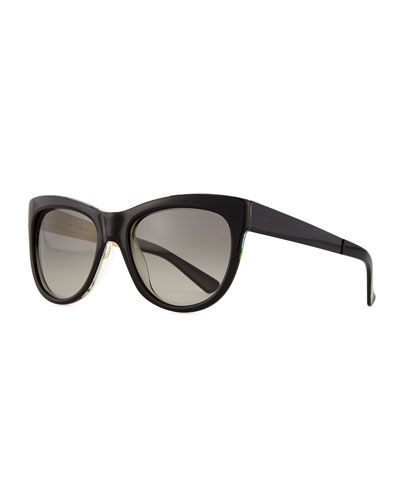 Floral-Fabric-Embed Butterfly Sunglasses, Black
